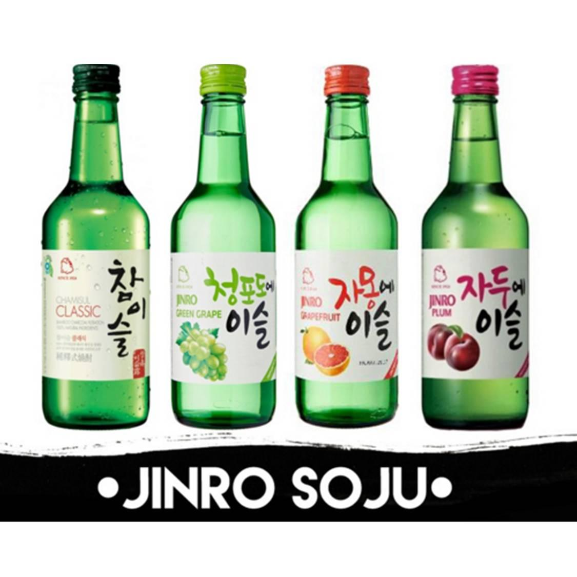 Jinro Soju - Choose Any 4 Bottles Combo - Classic/grape/grapefruit/plum By Qqmart.