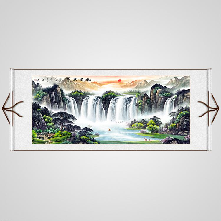 Li Ka-Shing Decoration Traditional Chinese Painting Landscape Painting Living Room Office Calligraphy And Painting Feng Shui Mountains-and-waters Painting on Silk Cornucopia Lucky Mounting