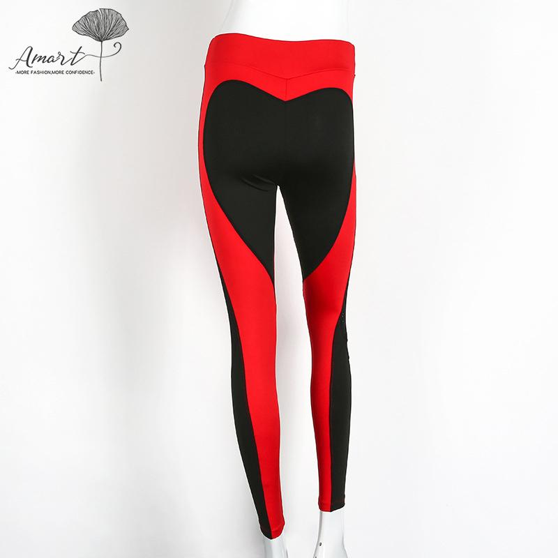 Amart Spring Autumn Women Yoga Pants Heart Patchwork Fitness Hips Push Up Leggings Running Trousers By Amart.