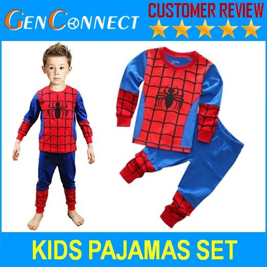Kids Pajamas Long Sleeve Shirt And Pants Spiderman Pyjamas Sleepwear For Children By Genconnect.