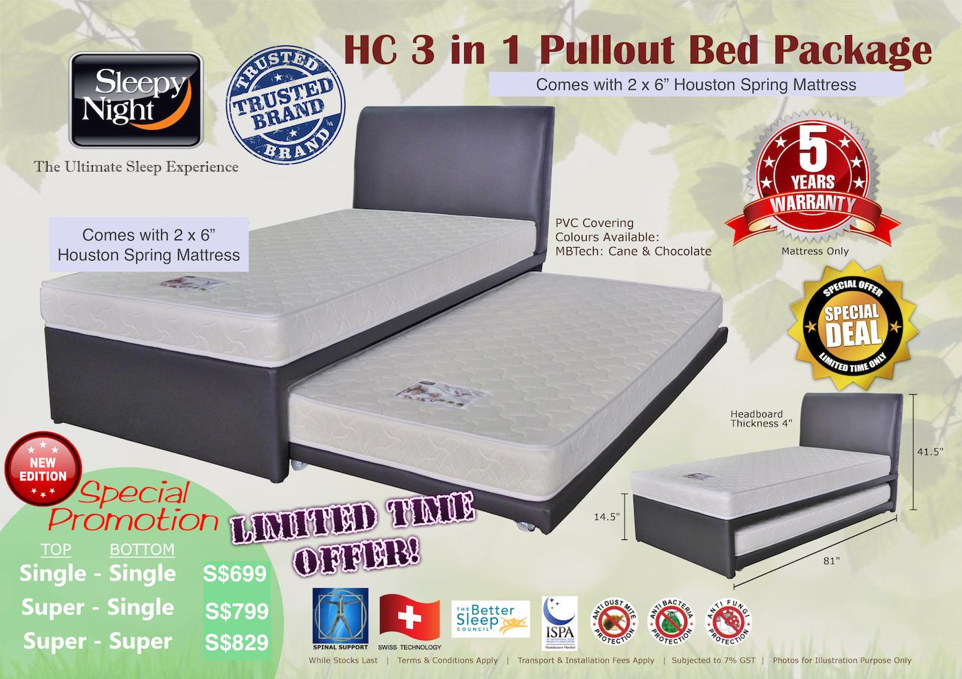 Sleepy Night 3 in 1 Pullout Bed Package - Single Top/Bottom, Houston 6 (Cane)