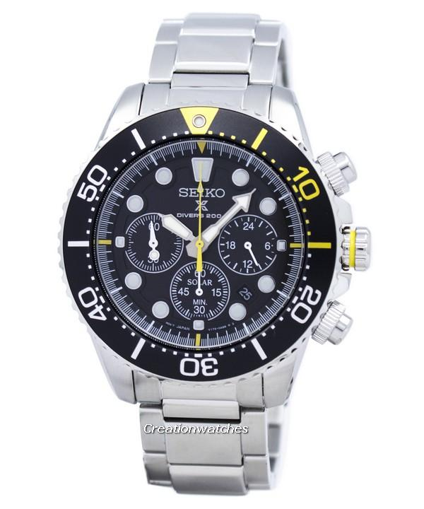 Seiko Prospex Divers Solar Chronograph Men's Silver Tone Stainless Steel Bracelet Watch SSC613P1