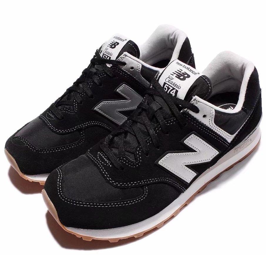 New Balance Men D Suede Running Shoes Black Silver Gum ML574HRM US10.5 RHK