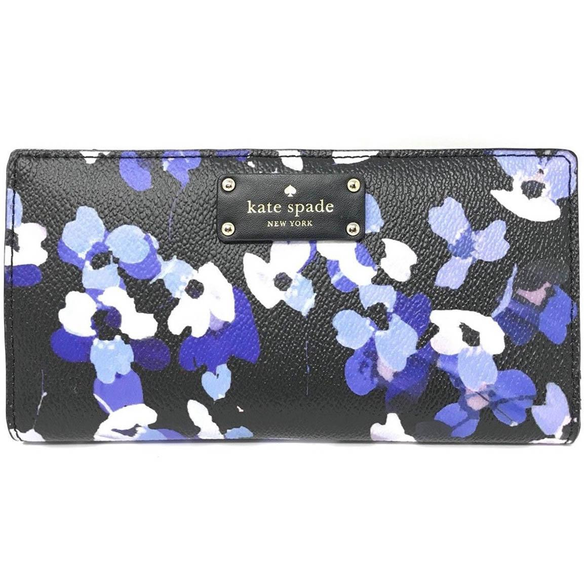 Compare Kate Spade Grove Street Printed Stacy Wallet Black Blue Flowers Wlru3006 Gift Receipt Prices