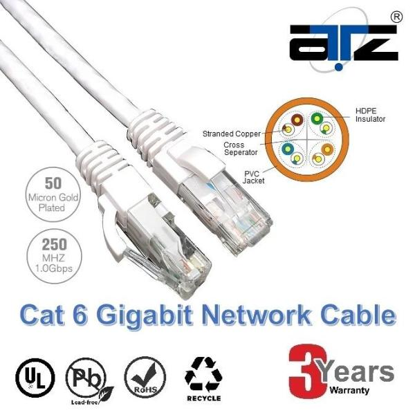 ATZ 1m CAT 6 Gigabit Ethernet Lan Network Patchcord Cable-1M Network Cable