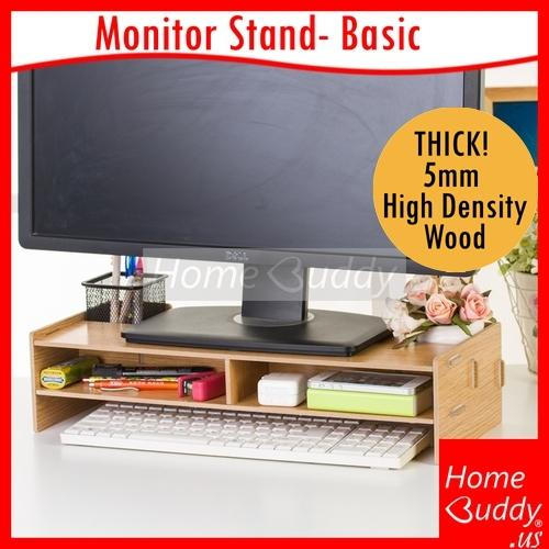 Monitor/ Laptop/ Printer Stand/ Desktop Organizer [THICK 5mm High Density Wood] 7 Designs [1] Basic  [2] Basic+Drawers  [3] A4 Slot  [4] Standard  [5] Extended- S  [6] Extended 65cm  [7] 2Way_ READY Stocks SG_ HomeBuddy_ Acev Pacific_ monitor stands