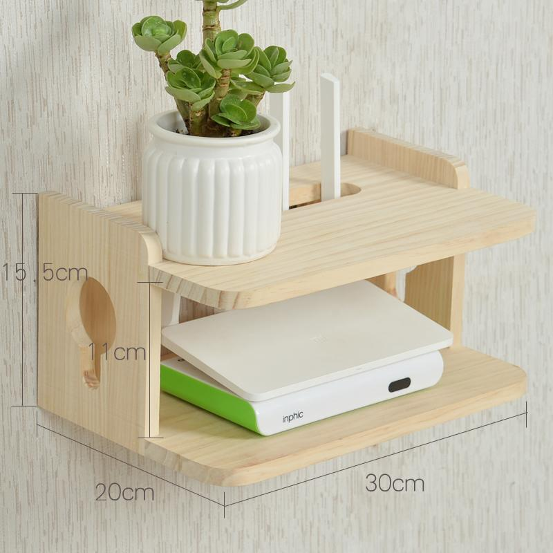 Solid Wood Set Top Box Shelf dianyuansu shi qiang ju Living Room Wall Storage Shelf Bedroom Wall Hangers WIFI Router Storage Box