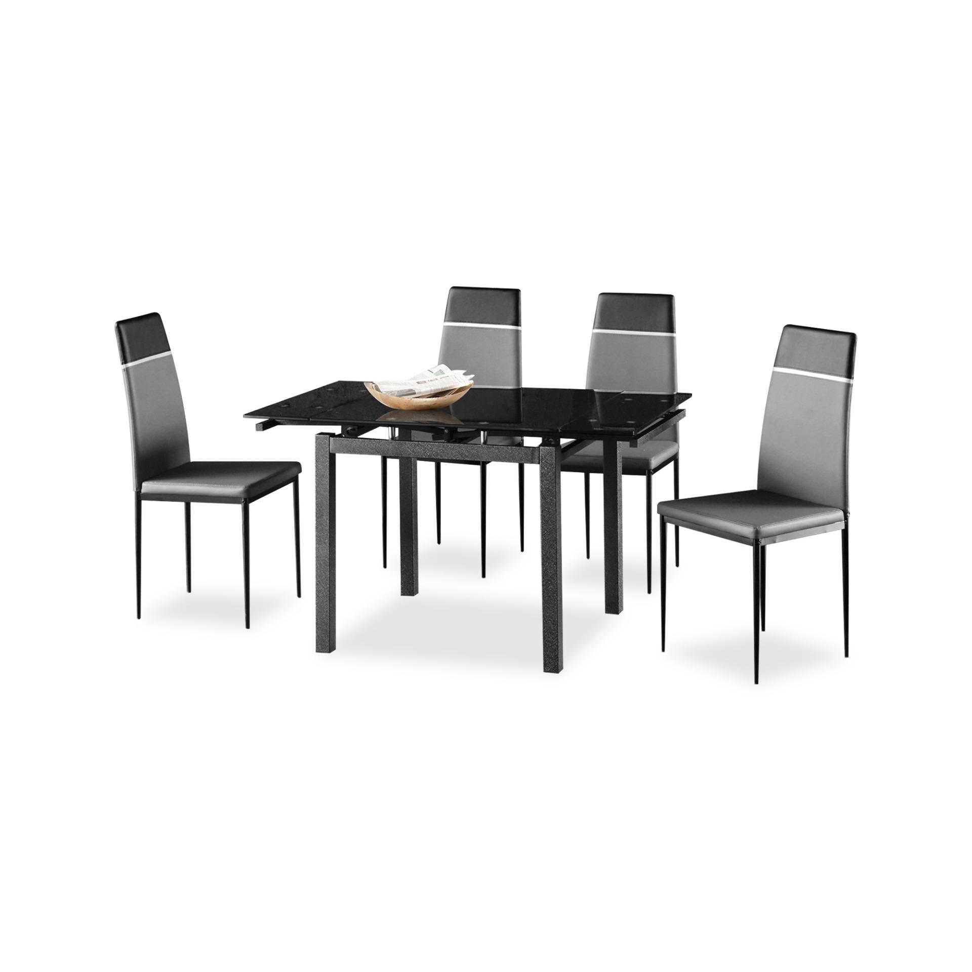 Brucie Extendable Tempered Glass Top Dining Table + 4 Chairs (FREE DELIVERY)(FREE ASSEMBLY)