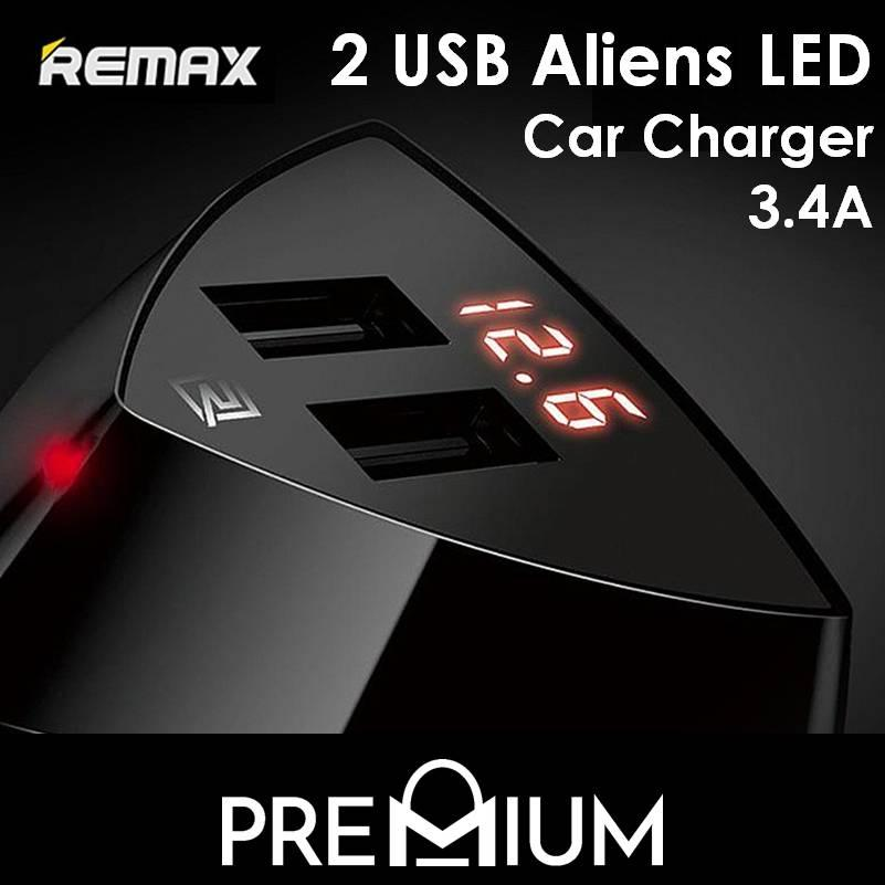 Remax Dual Usb Aliens Led Car Charger 3.4a By Premium Sg.