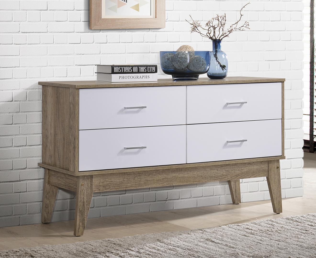 Scandinavian 4 Drawers Side Board Cabinet Storage Chest of Drawers Console Table ⭐ E-LIVING Furniture