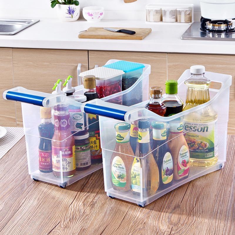 Kitchen Plastic Tape Roller Storage Box Multi-Purpose Transparent Finishing Box Large Size Toy Box Storage Basket