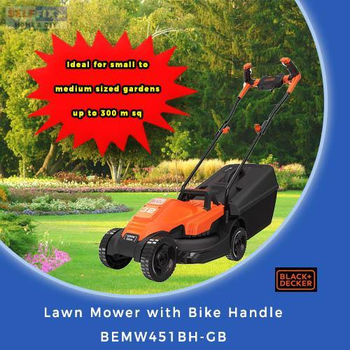 Black And Decker Lawn Mower With Bike Handle Bemw451bh-Gb By Selffix Diy.