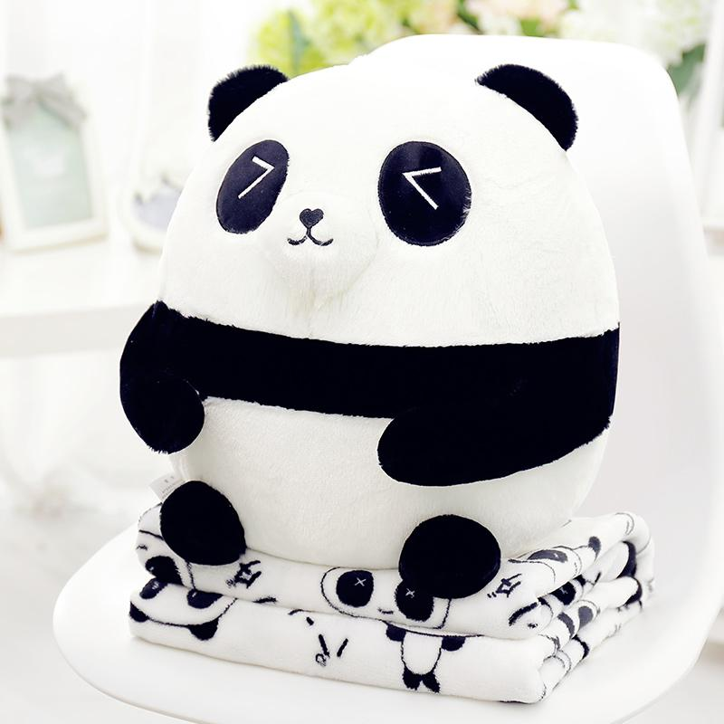 Yiwuyu Cute Large Size PANDA Doll Pillow Blanket Pillow Office Household TAKEANAP Lunch Break Pajama Blanket
