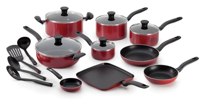 LOCAL SELLER - T-fal Initiatives Nonstick Inside and Out Dishwasher Safe 18-Piece Cookware Set, Red Singapore
