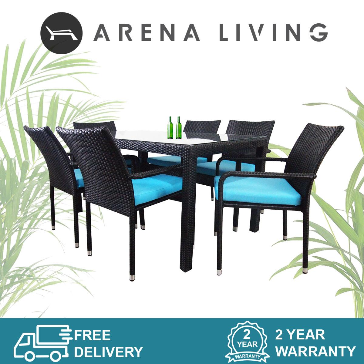 Boulevard 6 Chair Dining Set Blue Cushion, Outdoor Furniture by Arena Living™