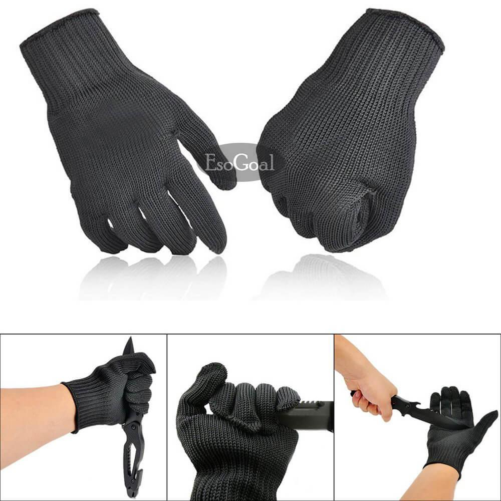 Esogoal Cut Resistant Gloves Anti-Vibration Gloves Heat Resistant Knit Safety Work Gloves High Performance Level 5 Protection 1 Pair (one Size, Black) By Esogoal.