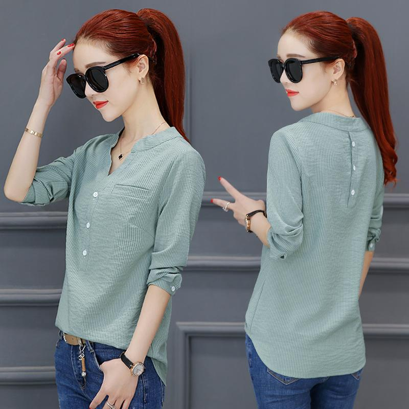 2a4e6038ca477 Korean-style Women s Midi Long Sleeve Shirt