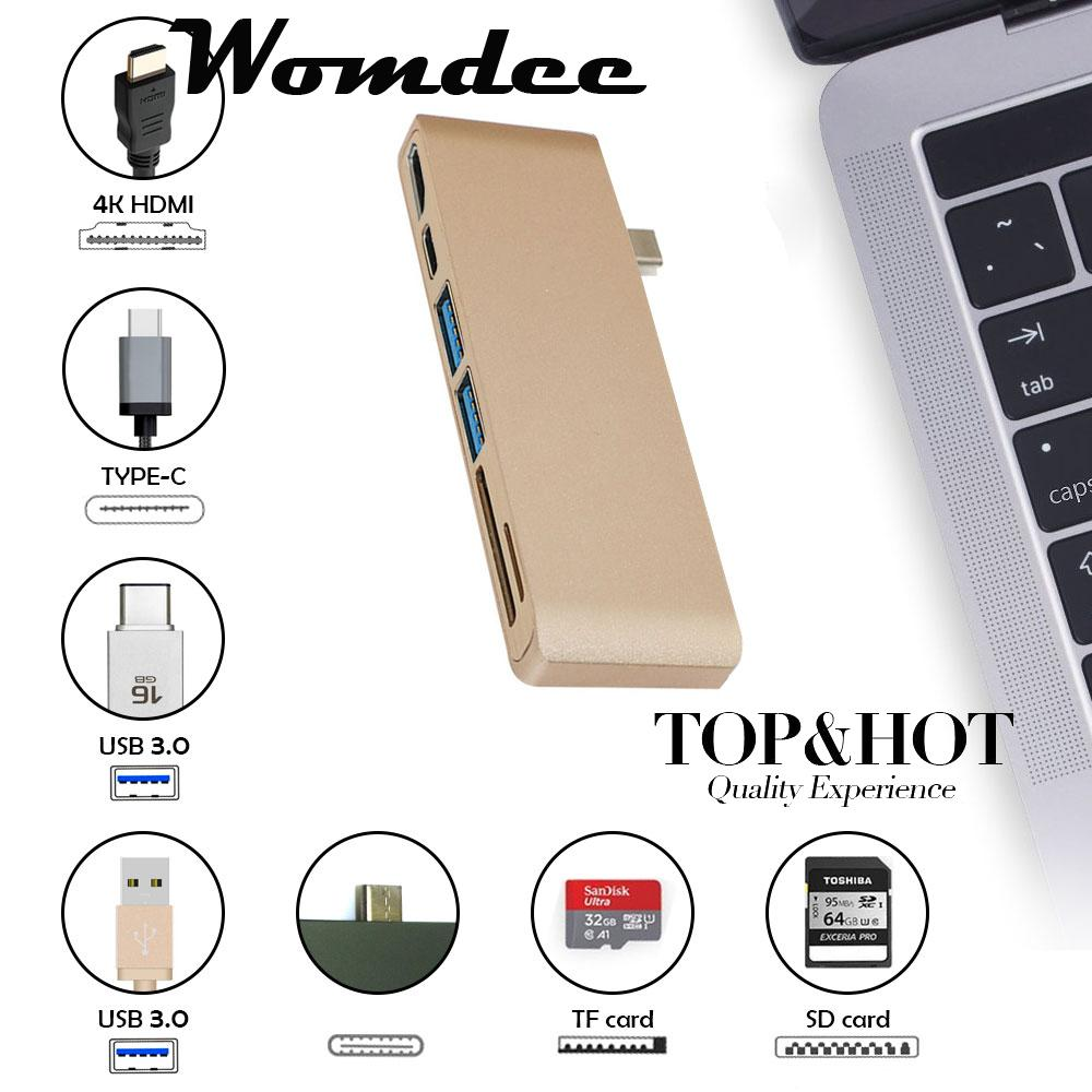 Womdee Type-C USB 3.0 6 In 1 Combo Hub For Laptops, Aluminum Multi-Port Adapter With USB-C Charging Port, Type-C Pass Through, 2 USB 3.0 Ports, HDMI 4KSD/Micro Card Reader (Gold) - intl