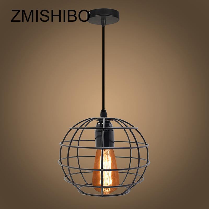 LEDIARY Vintage Iron Spherical Pendant Lights E27 110V-220V Metal Hanging Lamp For Bedroom Droplights Home Lighting Fixtures