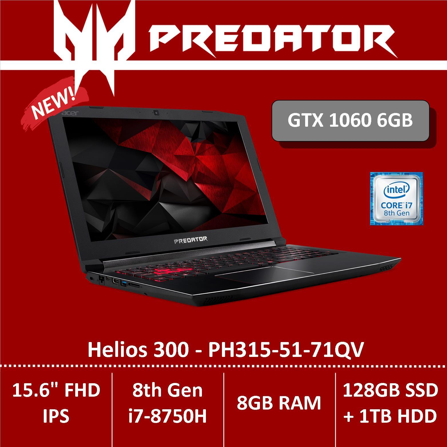 Predator Helios 300 Ph315-51-71qv Gaming Laptop - Gtx1060 Graphics By Acer Official Store.