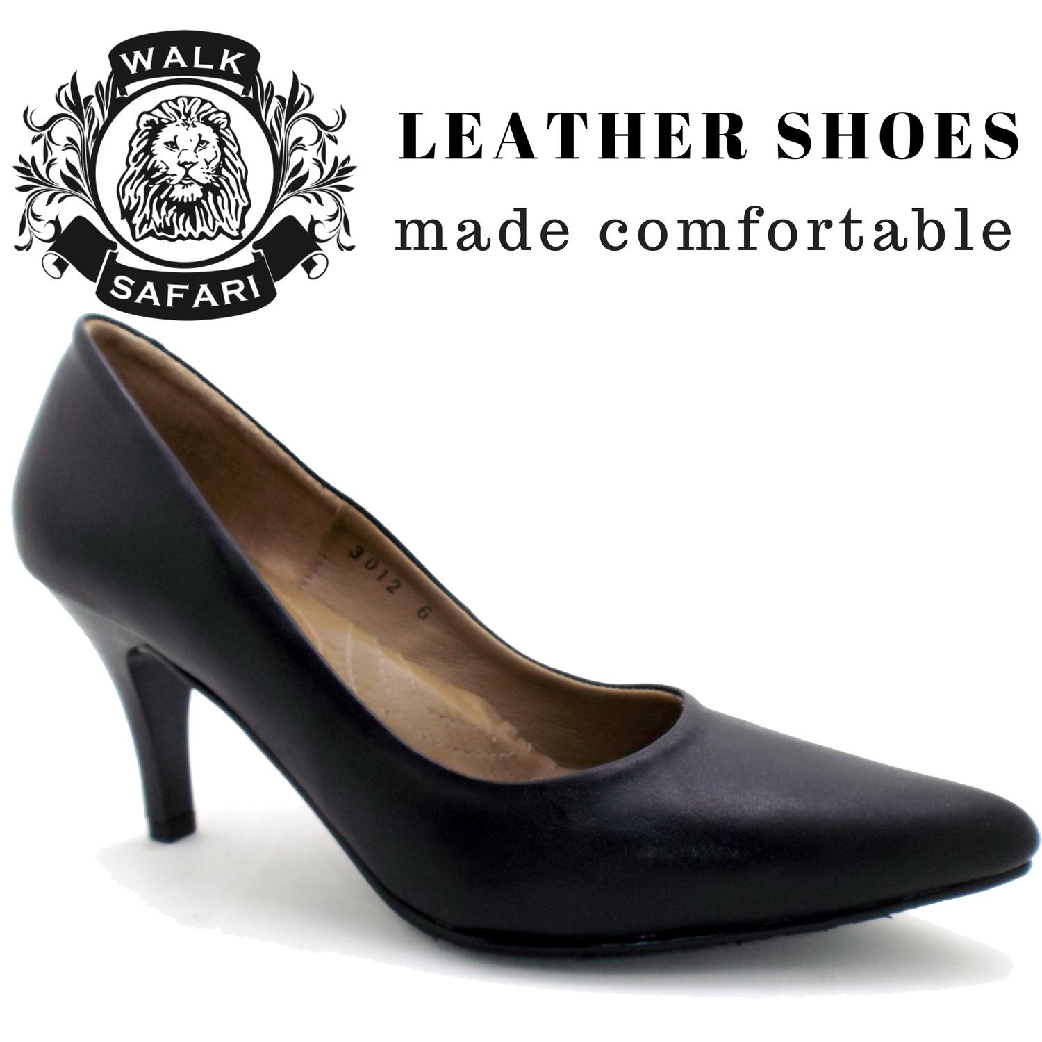 [walk Safari Lm3012] Ladies Classy Sharp Toe High Heels Leather Office Shoes By Everyone Footwear.
