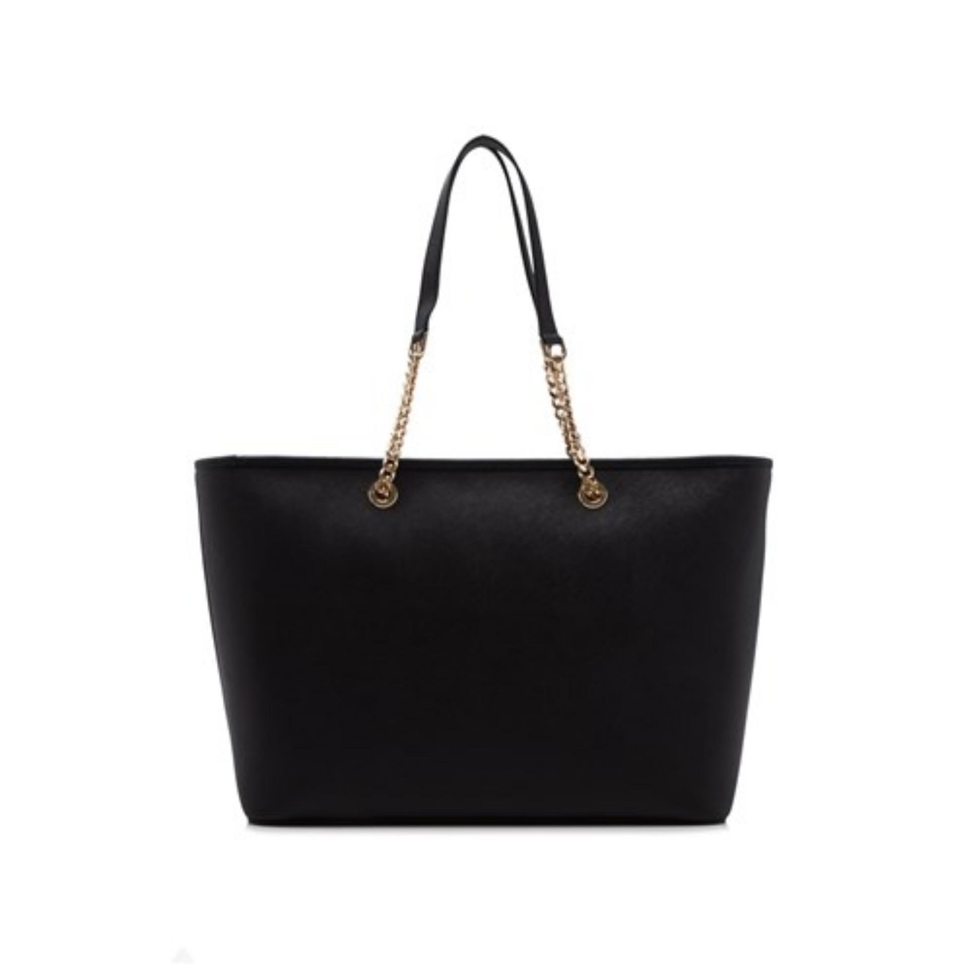 697d07a89bb410 Michael Kors Jet Set Travel Chain Medium Top Zip Multi Functional Tote Bag ( Black)