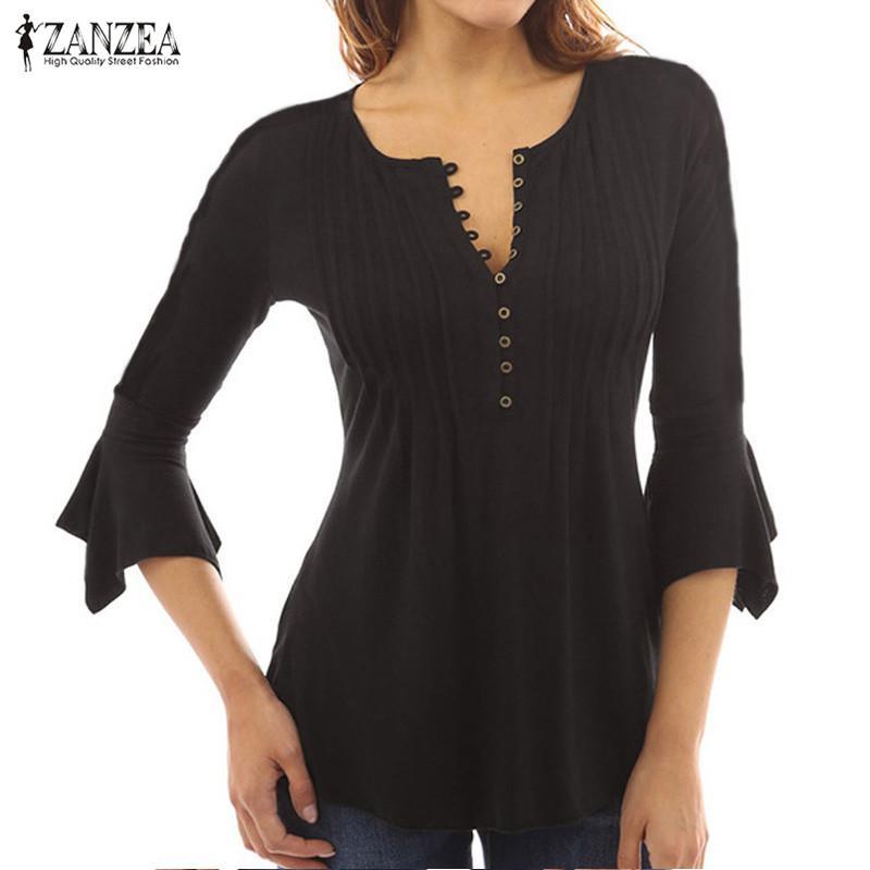 Sale Zanzea Women V Neck Buttons Swing Pleated Tops Blouse Shirt Vintage Ruffled Flared 3 4 Sleeve Strecth Slim Tops Blusas Black Intl Zanzea On China