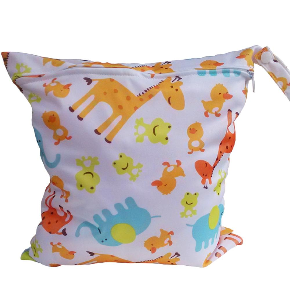 Babies Infants Colorful Cartoon Giraffe Pattern Waterproof Reusable Washable Zipper Baby Cloth Diaper Nappy Bag Storage Carrier By Duha.