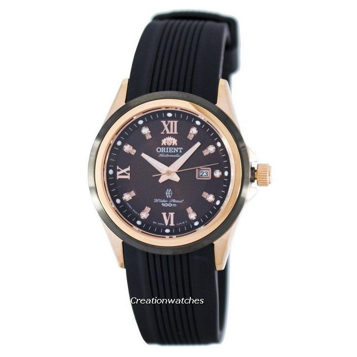 Orient Gem Automatic Power Reserve Crystal Accent Women S Black Rubber Strap Watch Fnr1V001T0 Cheap