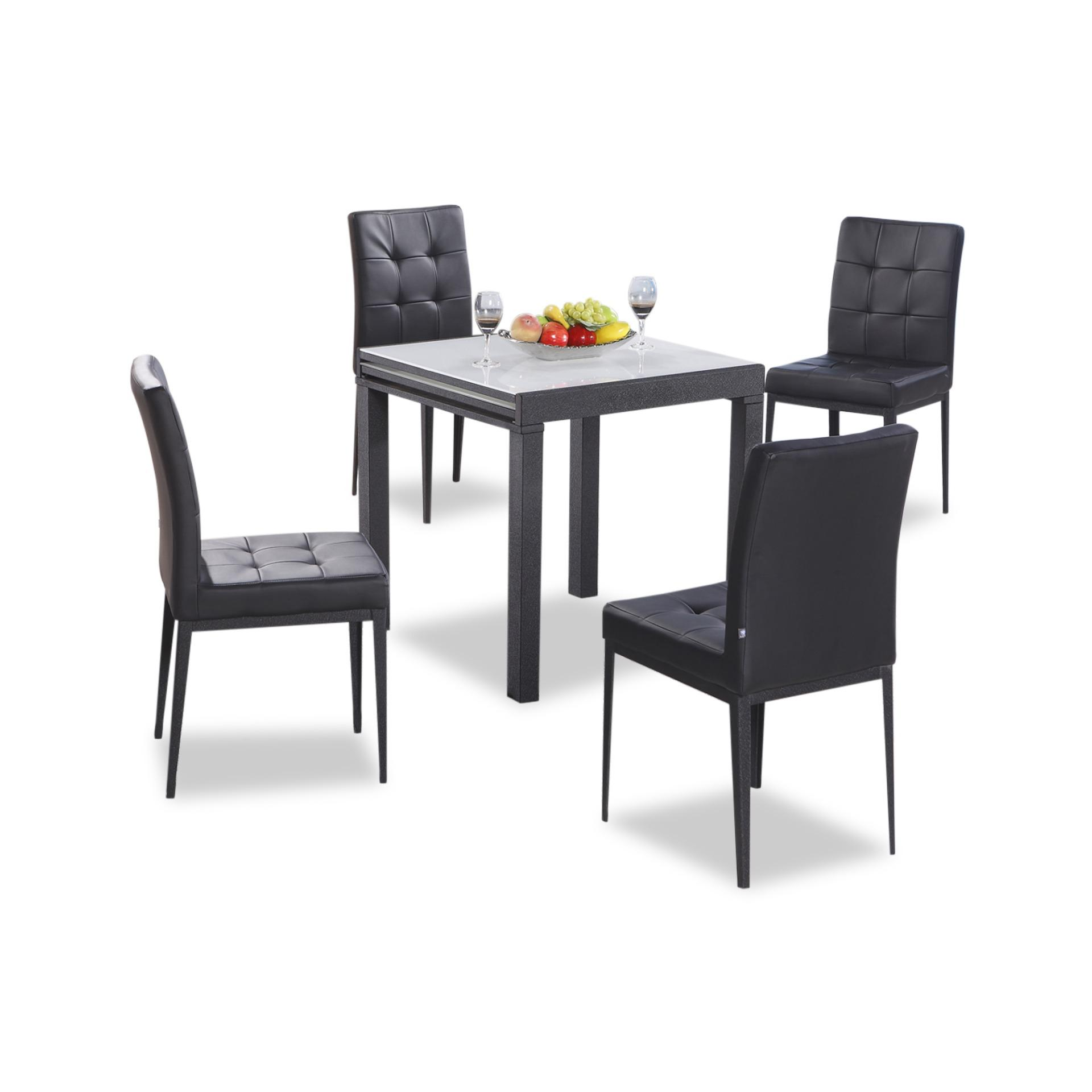 Eline Extendable Tempered Glass Top Dining Table + 4 Dining Chairs (FREE DELIVERY)(FREE ASSEMBLY)