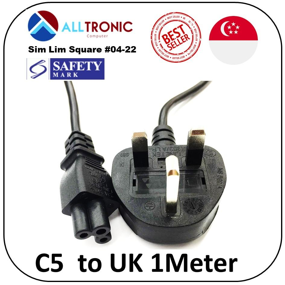 C5 (Notebook) Laptop  to UK 3Pin Power Cable 1Meter with Safety Mark Black