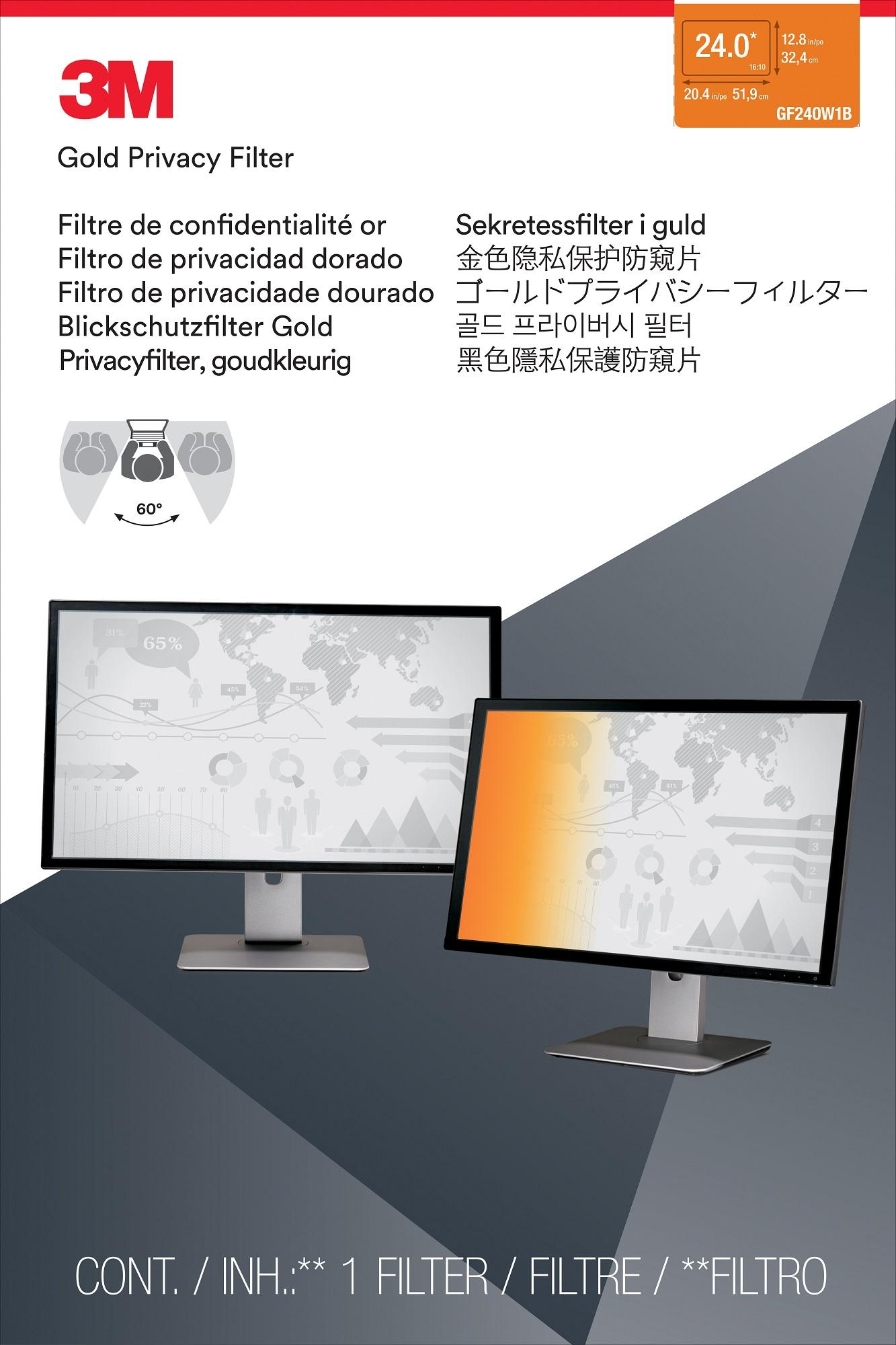 3M Gold Laptop Desktop Privacy Filter (Widescreen 16:10) - 3M-GF240W1B