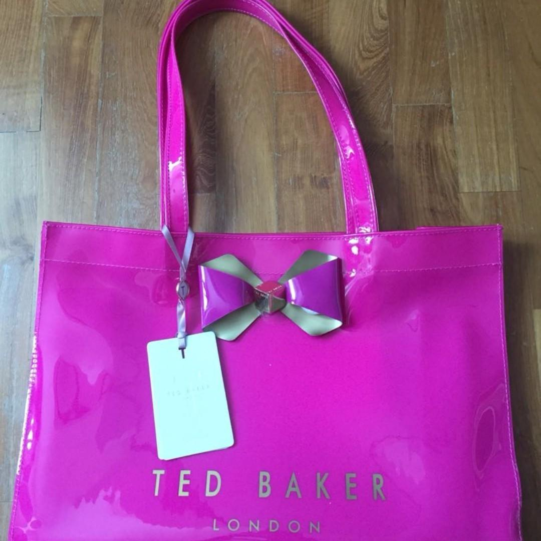 9f4217838f8efd NEW Ted Baker Escon Bow Trim Shopper Bag (Bright Pink)