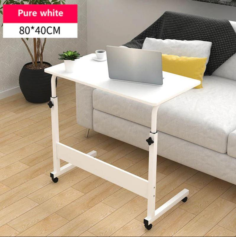 [One Mart][CL1804] Adjustable Side Table 80cm x 40cm ★ Computer Dining Bedside Sofa Anywhere ★ Stable Wheels etc