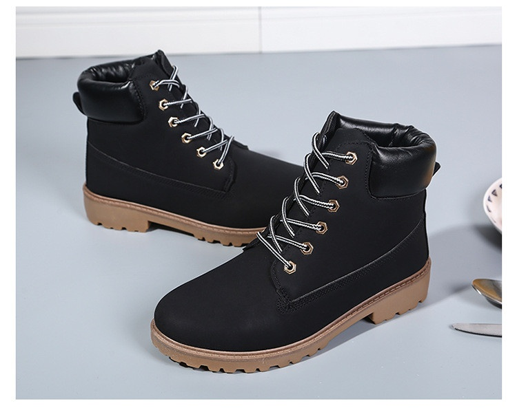 5256758ad96 New Work Boots Women's Winter Leather Boot Lace up Outdoor Waterproof Snow  Boot Black -Intl