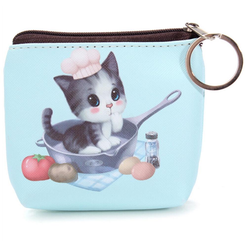 Cute Cat Face Zipper Case Mini Pocket Coin Purse Cartoon Key Wallet Bag Pouch SG