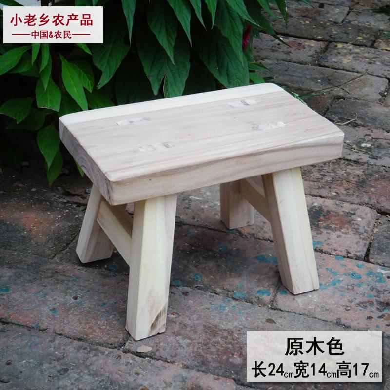 KAILONG Solid Wood Small Bench Vintage Antique Finish Dance Children Plastic Footpad Adult Household Shoes Dancing Short Stool Laundry