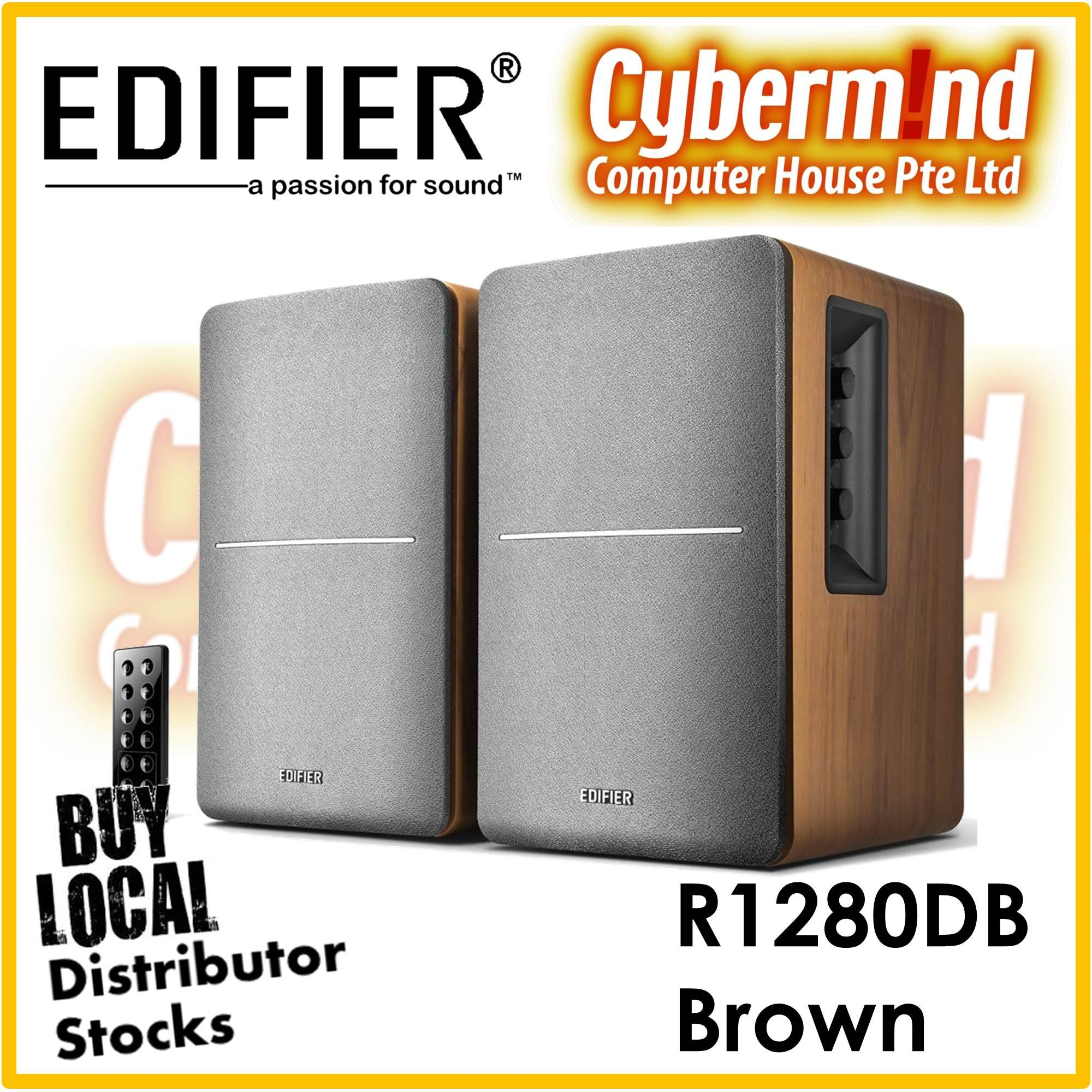 Edifier R1280DB 2.0 Bluetooth Bookshelf Speaker - BROWN (Local Distributor Stocks / Brought to you by Cybermind 20years in Singapore!)