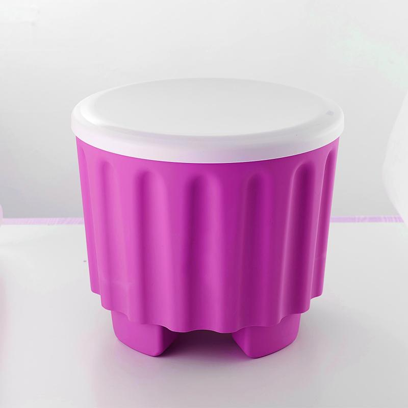Seat Bathroom Entrance Bench Footstool Bucket Storage Box Door Plastic Storage Stool SHOEBOX Circle dun