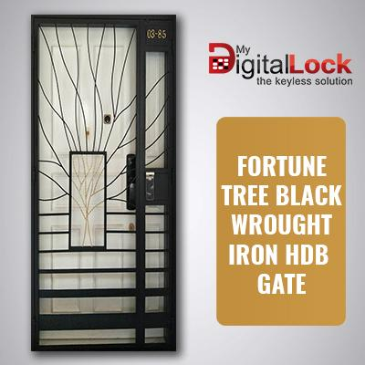 FORTUNE TREE BLACK WROUGHT IRON HDB GATE (3 x 7)