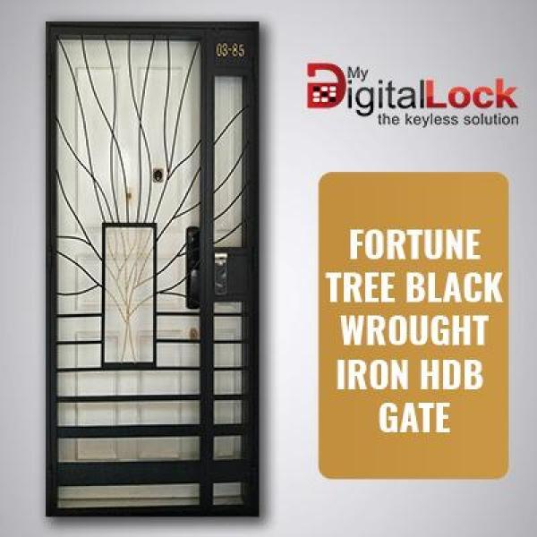 FORTUNE TREE BLACK WROUGHT IRON HDB GATE (3 x 7)