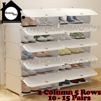 DIY Shoe Shoes Rack Storage Drawers Multi Purpose Modular Organizer Plastic Cabinets I WW Series I 2 Columns 5 Rows