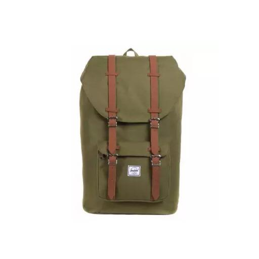 Compare Price Herschel Supply Co Little America Green Leather Mid Volume On Singapore