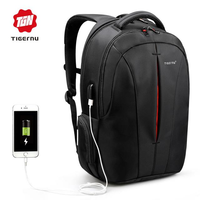 Shop For Tigernu Nylon Backpack Waterproof Men S Back Pack Usb Charging Port Fit For 15 6 Inch Laptop Intl