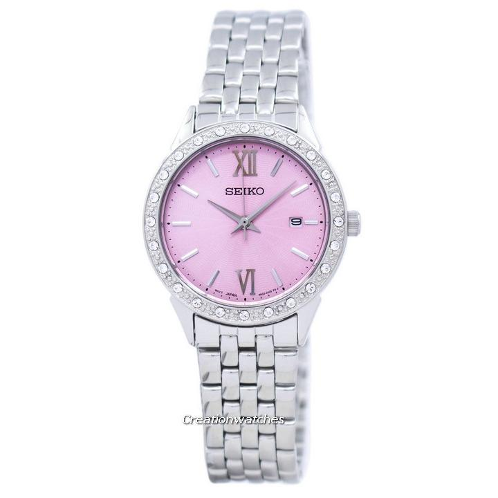 Cheaper Seiko Quartz Diamond Accent Women S Silver Tone Stainless Steel Bracelet Watch Sur693P1