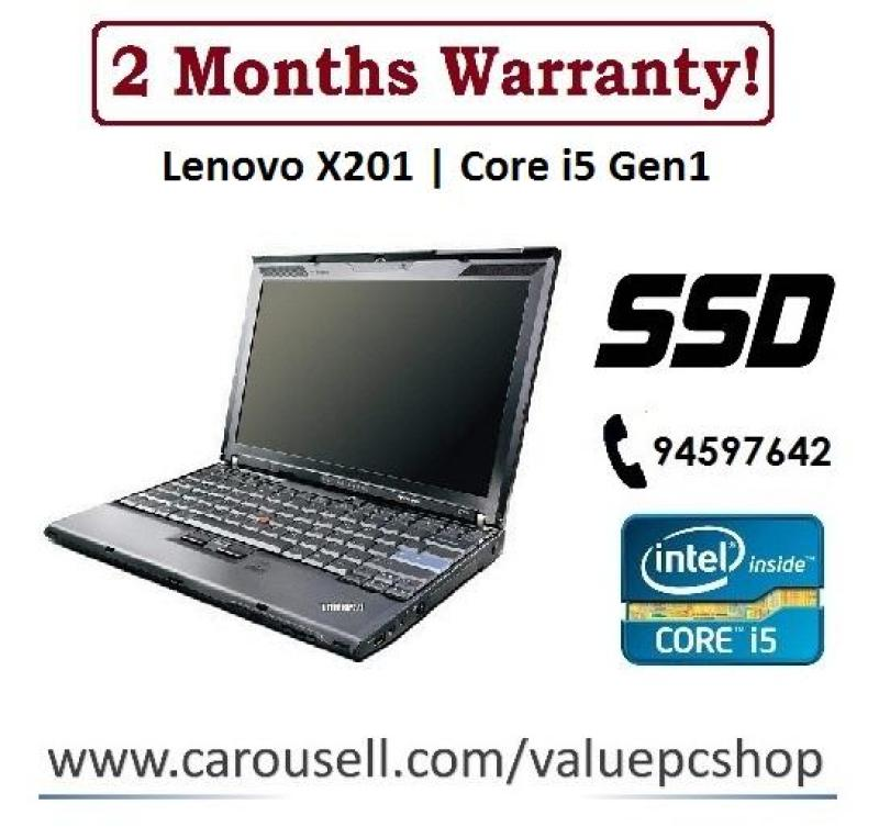 Speedy SSD Core i5: Lenovo X201 / 4GB RAM/ 120GB SSD (Refurbished Laptop notebook)