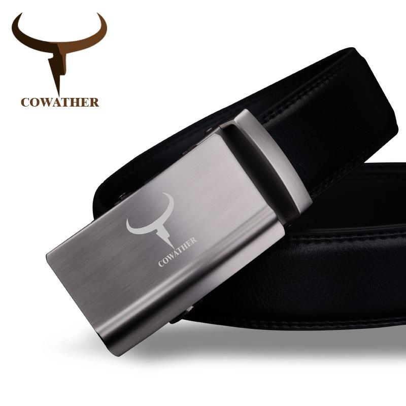 Sale Cowather Men S 100 Cow Genuine Leather Strap Belt With Automatic Buckle Waist Belts For Men Cowather On China