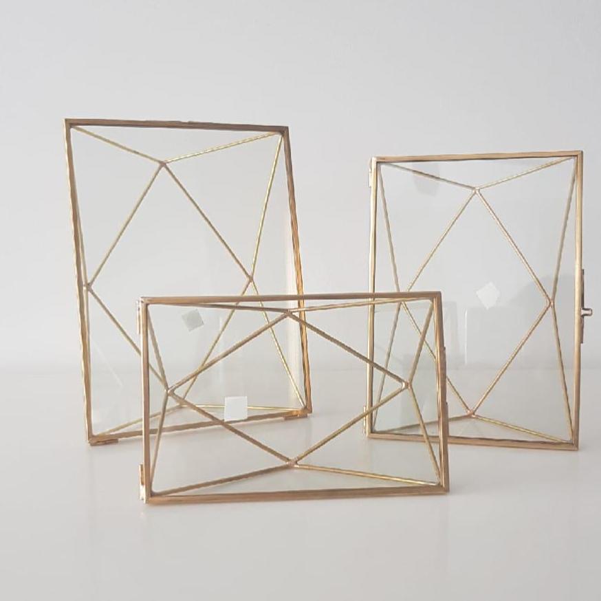 Gold Geometric Glass Photoframe /  Home Decor Rectangle Frame