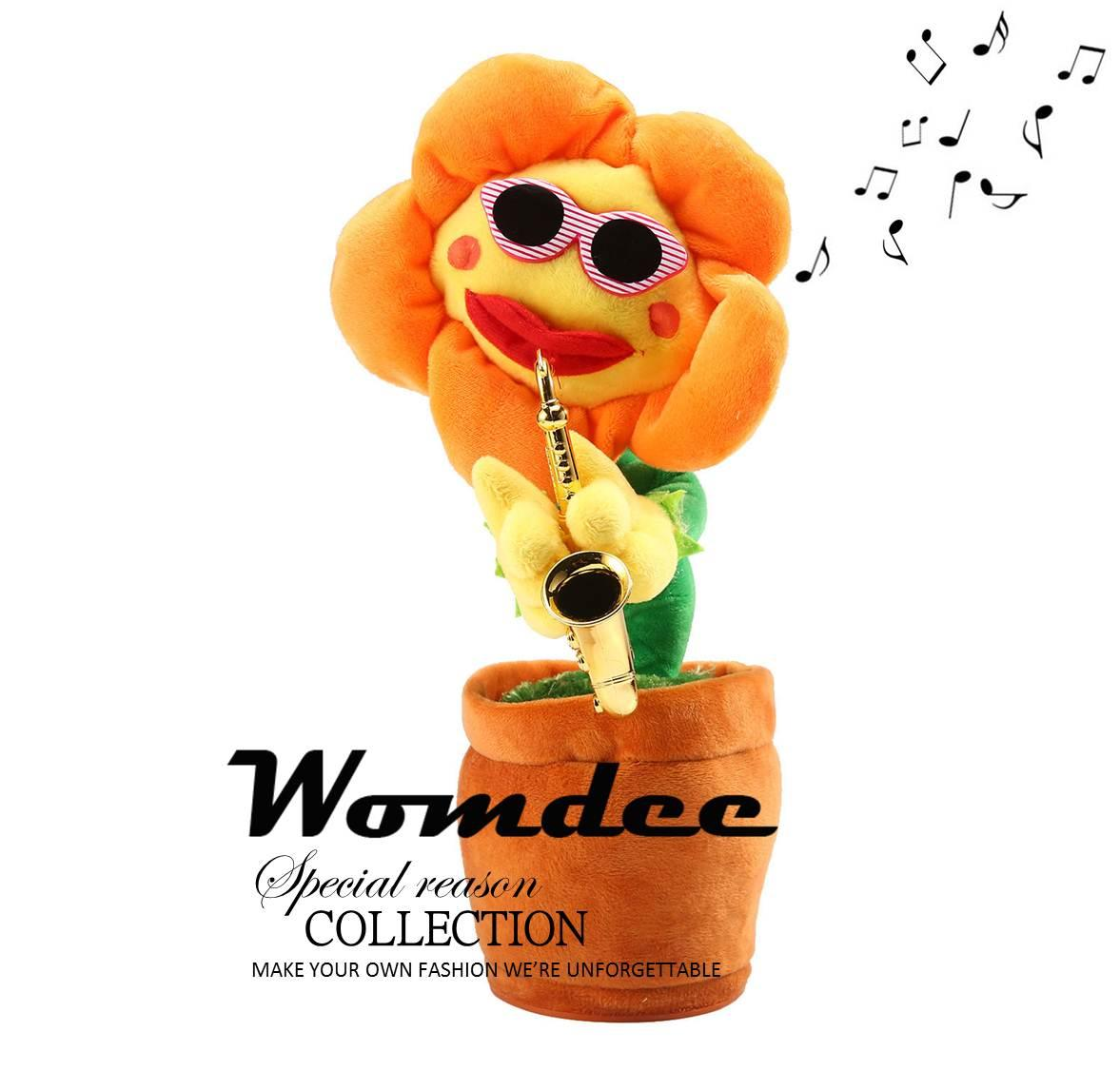 Cheap Womdee Singing And Dancing Saxophone Sunflower Stuffed Animated Dancing Flower Doll Toy Creative Electric Musical Toys Stress Relief Toys For Christmas Birthday Gift Intl