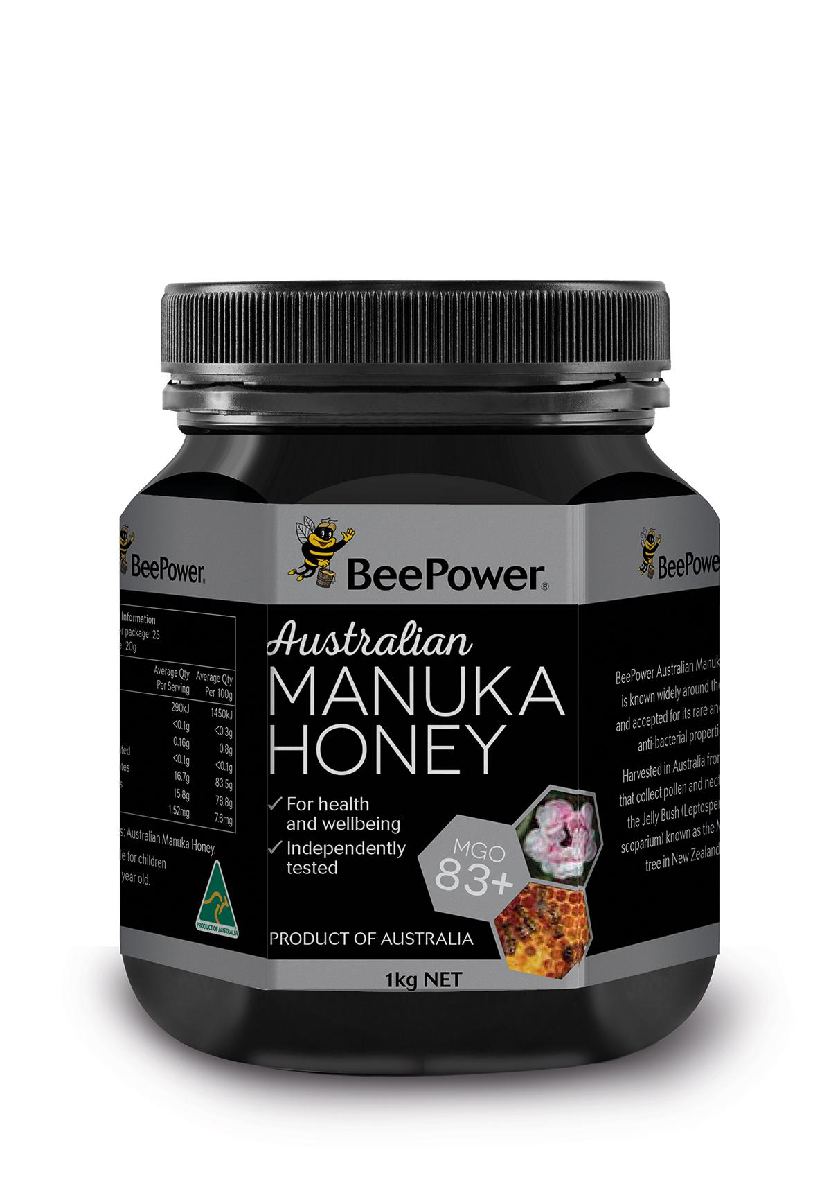 Beepower Australia Organic Manuka Honey Mgo 83+ 1kg By The Honey Store.